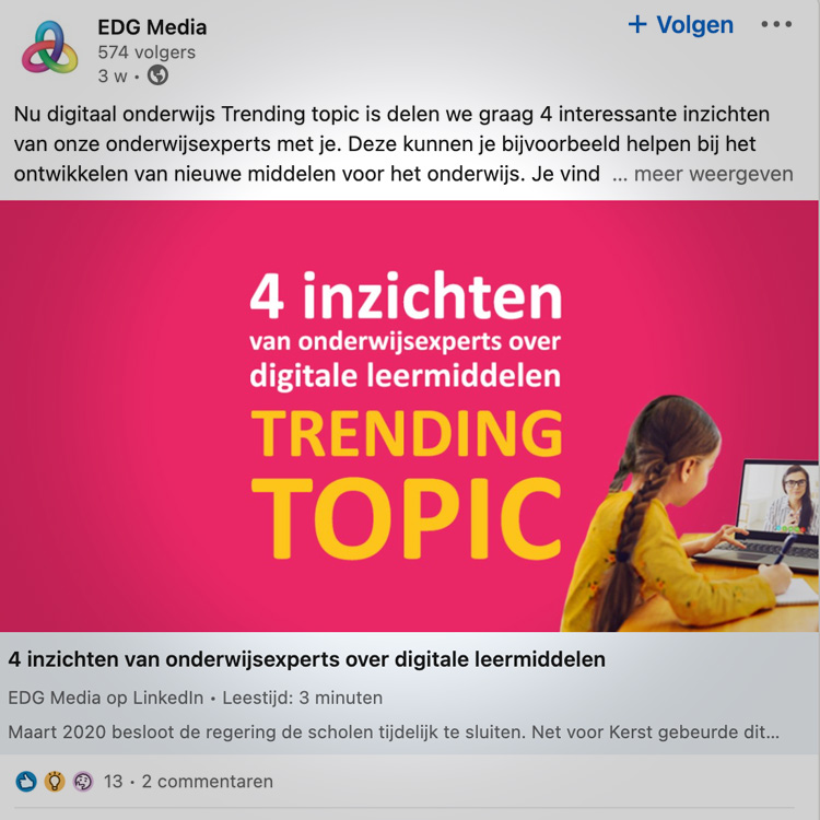 EDG Media content strategie en content creatie - contentformat trending topic